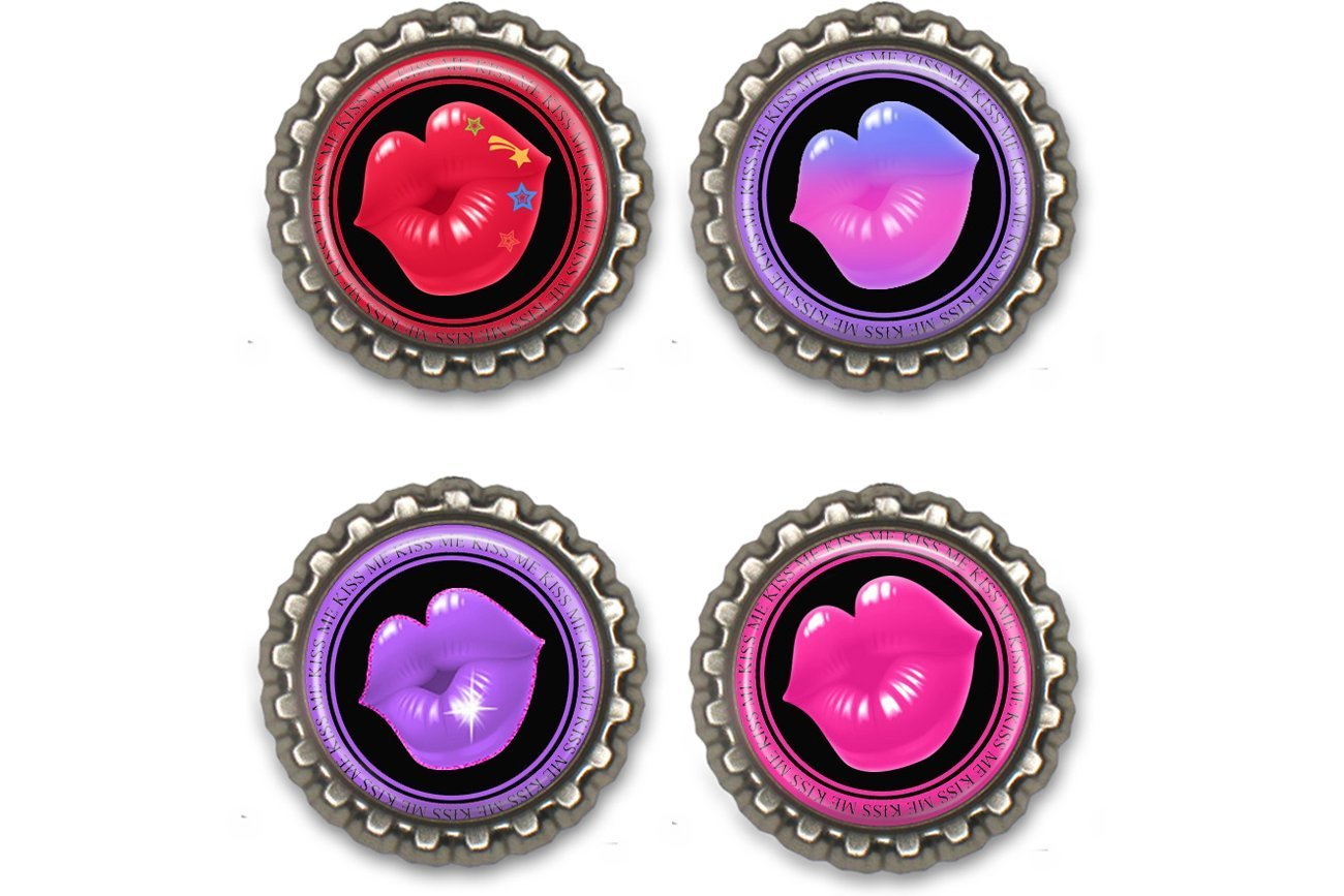 Valentines Day Lips Bottle Cap Magnets