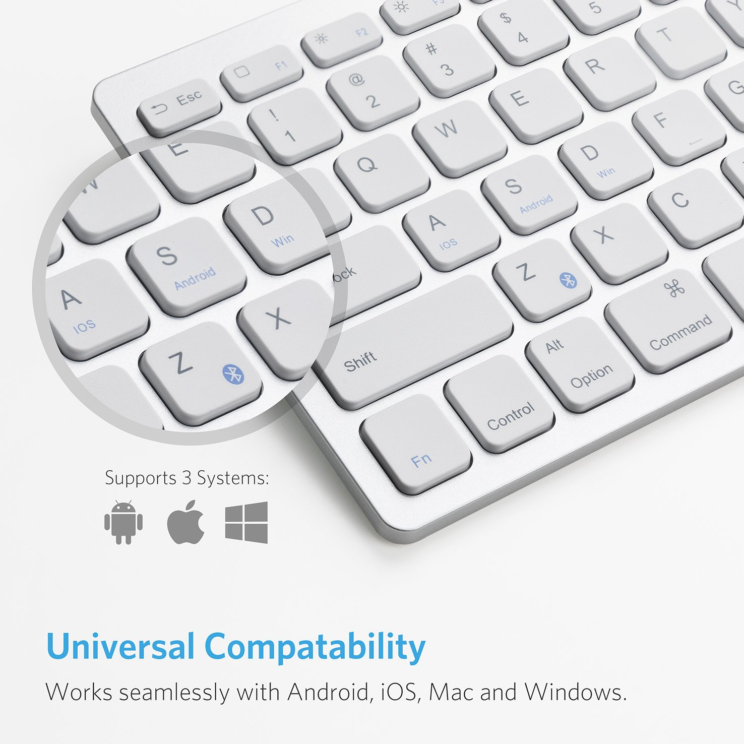 Anker Bluetooth Ultra-Slim Keyboard for iPad Air 2 / Air, iPad Pro, iPad mini 4 / 3 / 2 / 1, iPad 4 / 3 / 2 , New iPad 9.7''(2018/ 2017), Galaxy Tabs and Other Mobile Devices (White) by Anker (Image #4)