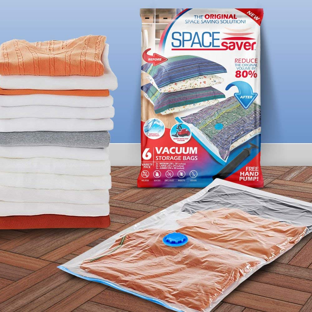 Spacesaver Premium Vacuum Storage Bags 6 Pack 2 x Medium 2 x Large 2 x Jumbo 80 More Storage