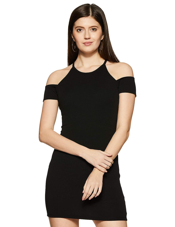 Veni VIDI VICI Black Cold Shoulder Bodycon Dress  Amazon.in  Clothing    Accessories 9cba6f72f