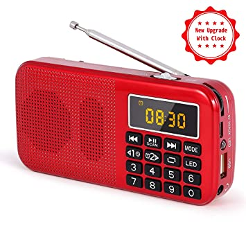 J-725C Radio FM portátil pequeña, Radio de batería Recargable ...