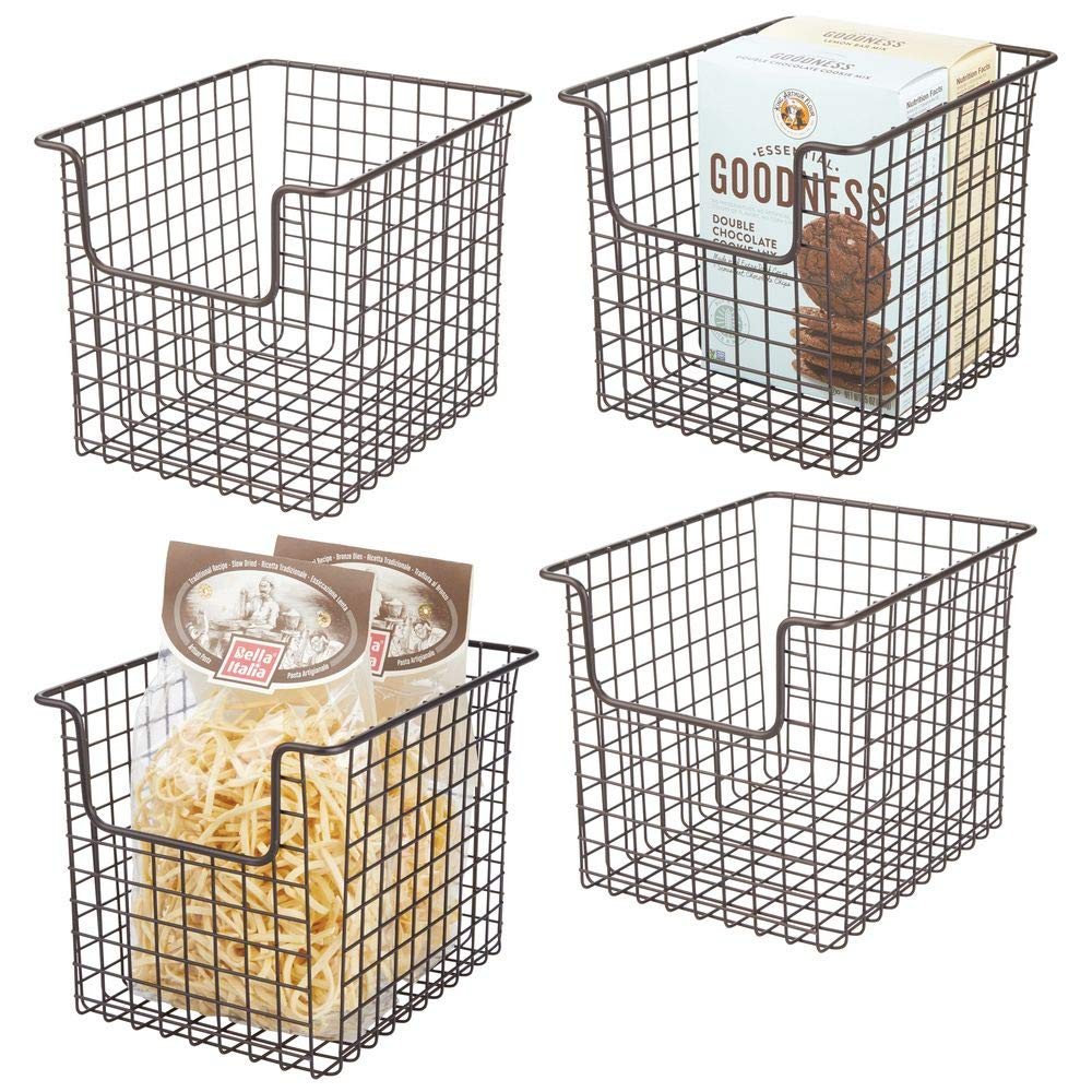 """mDesign Household Metal Kitchen Pantry Food Storage Organizer Basket Bin - Farmhouse Grid Design or Cabinets, Cupboards, Shelves - Holds Potatoes, Onions, Fruit - 8"""" Wide, 4 Pack - Bronze"""
