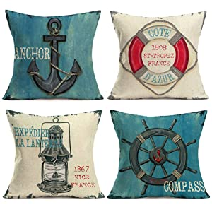 Aremetop Nautical Ocean Decorative Throw Pillow Covers France Ancient Sailing Anchor Compass Lantern Lifebuoy Vintage Rustic Home Decor Navigation Outdoor Cushion Cases 18''x18'' Cotton Linen,Set of 4