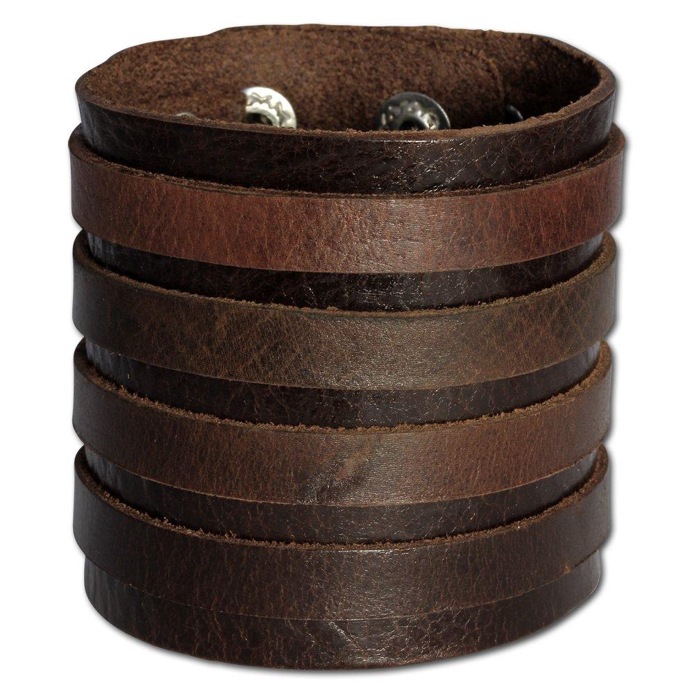 Herren ARMREIF Echt Leder /& Druckknöpfe Natur LEDERBAND fürs Handgelenk Armband