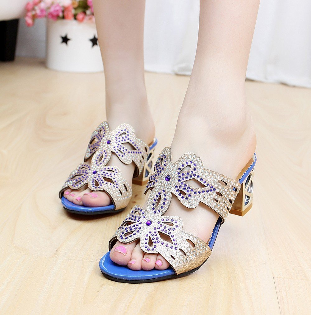 Minetom Donne Moda Elegante Estate Pantofole Finto Strass Fiore Farfalla  Sandali Peep Toe Pantofol: Amazon.it: Abbigliamento
