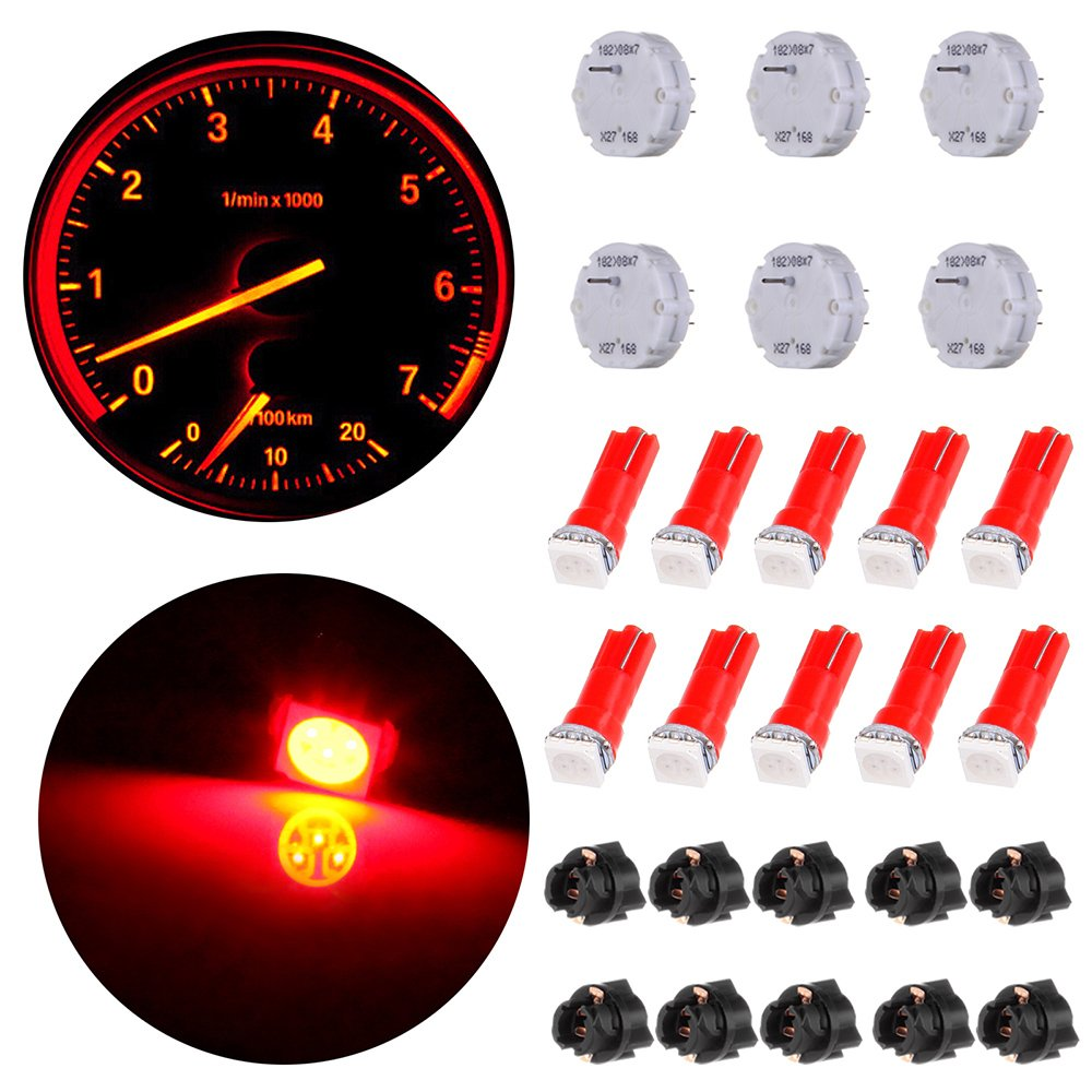 OCPTY 6Pcs X27.168 Instrument Cluster Gauge Stepper Motor Kit with 10Pcs T5 LED Light Bulbs T5 Sockets - Fit for GM Toyota Honda Ford Chrysler Chevy Silverados, Tahoes, Yukons, Suburbans by OCPTY