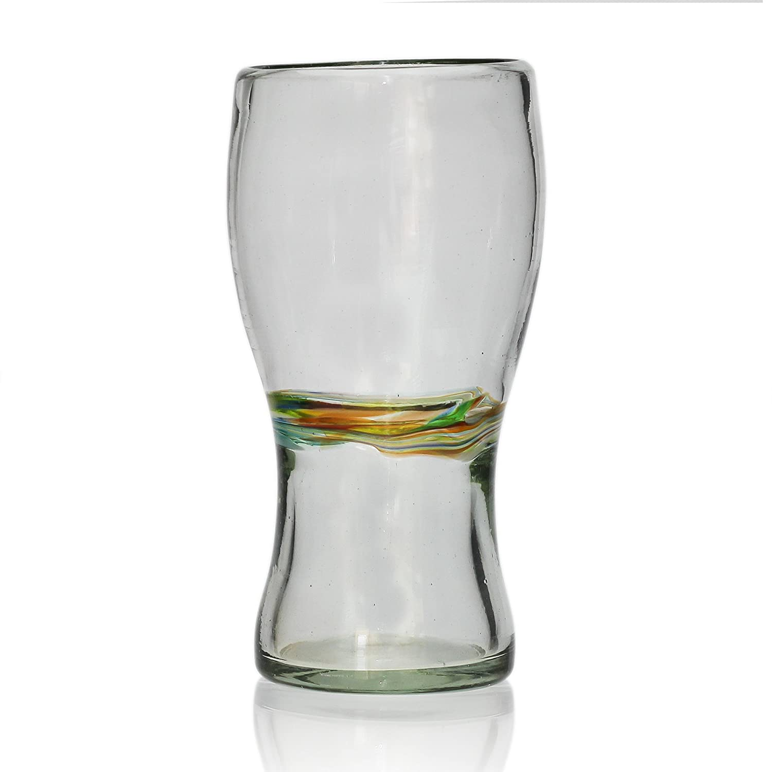 Pint shaped glass (450 ml), multi-stripe, hand blown from recycled glass - fair trade and handmade in Mexico Tumia LAC