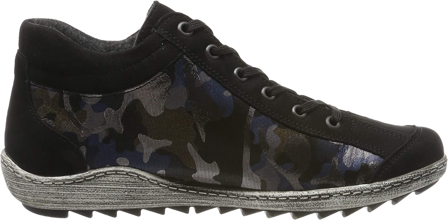 Remonte Women's Low-Top Sneakers Black Schwarz Blau Camouflage Schwarz 03
