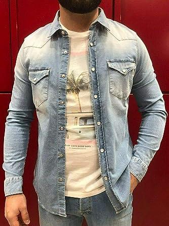 Roy Rogers - Camisa vaquera para hombre Dudley Man Liam denim L: Amazon.es: Ropa y accesorios