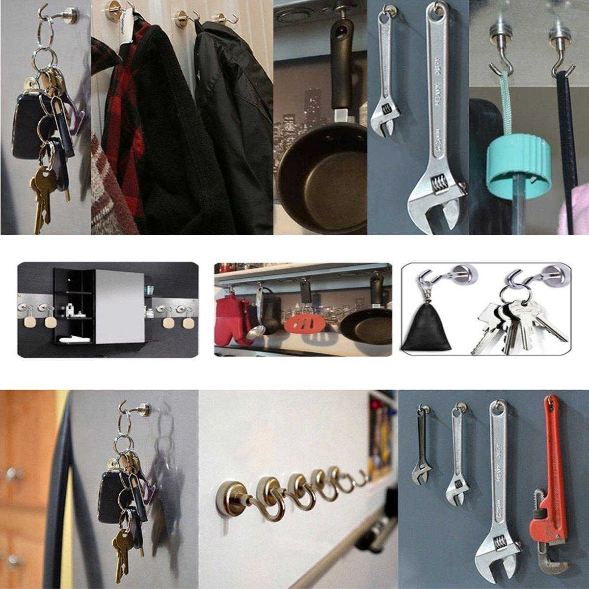 ba/ño plateado dormitorio oficina garaje JKG-CE20-UK-K10 almac/én Ganchos magn/éticos de neodimio de alta resistencia para frigor/ífico de acero para pared cocina