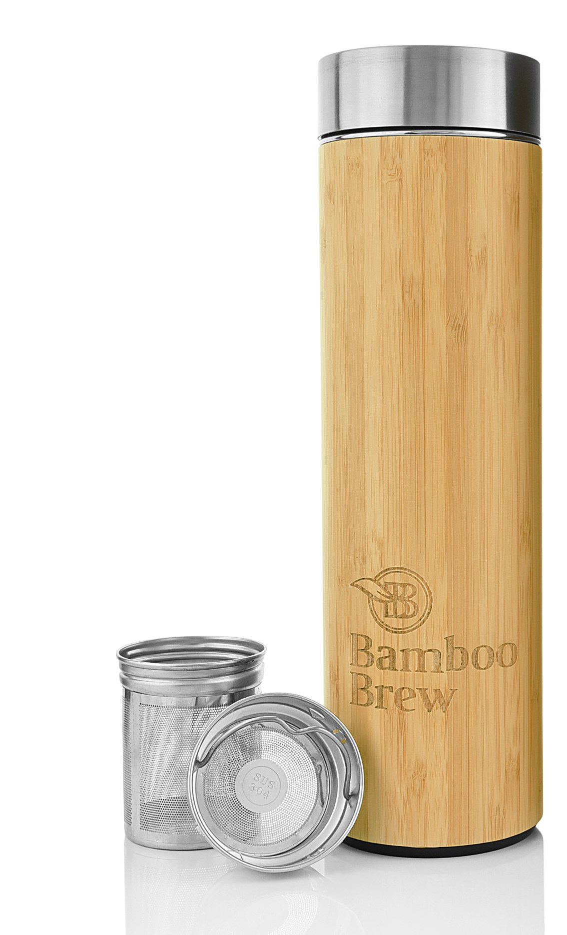Bamboo Tumbler with Infuser & Strainer 18oz | Stainless Steel Coffee & Tea Flask | Double Wall Vacuum Insulated Travel Mug | Loose Leaf Detox Brew & Fruit Infusion Water Bottle | Ecofriendly Thermos