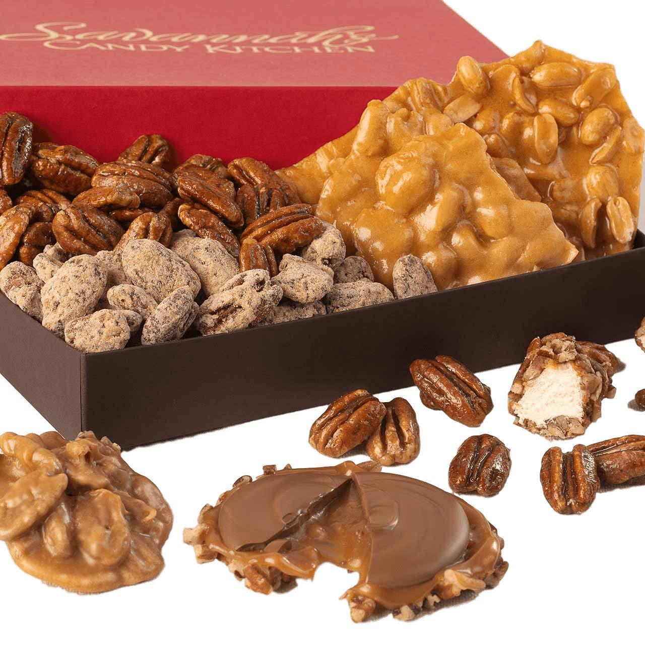 CDM product Handmade Southern Confections Gourmet Gift Box - Praline, Chocolate Caramel Pecan Turtle Gophers, Pecan Nougat Caramel Log Roll, Handmade Peanut Brittle, Candied Pecans | Savannah Candy Kitchen big image