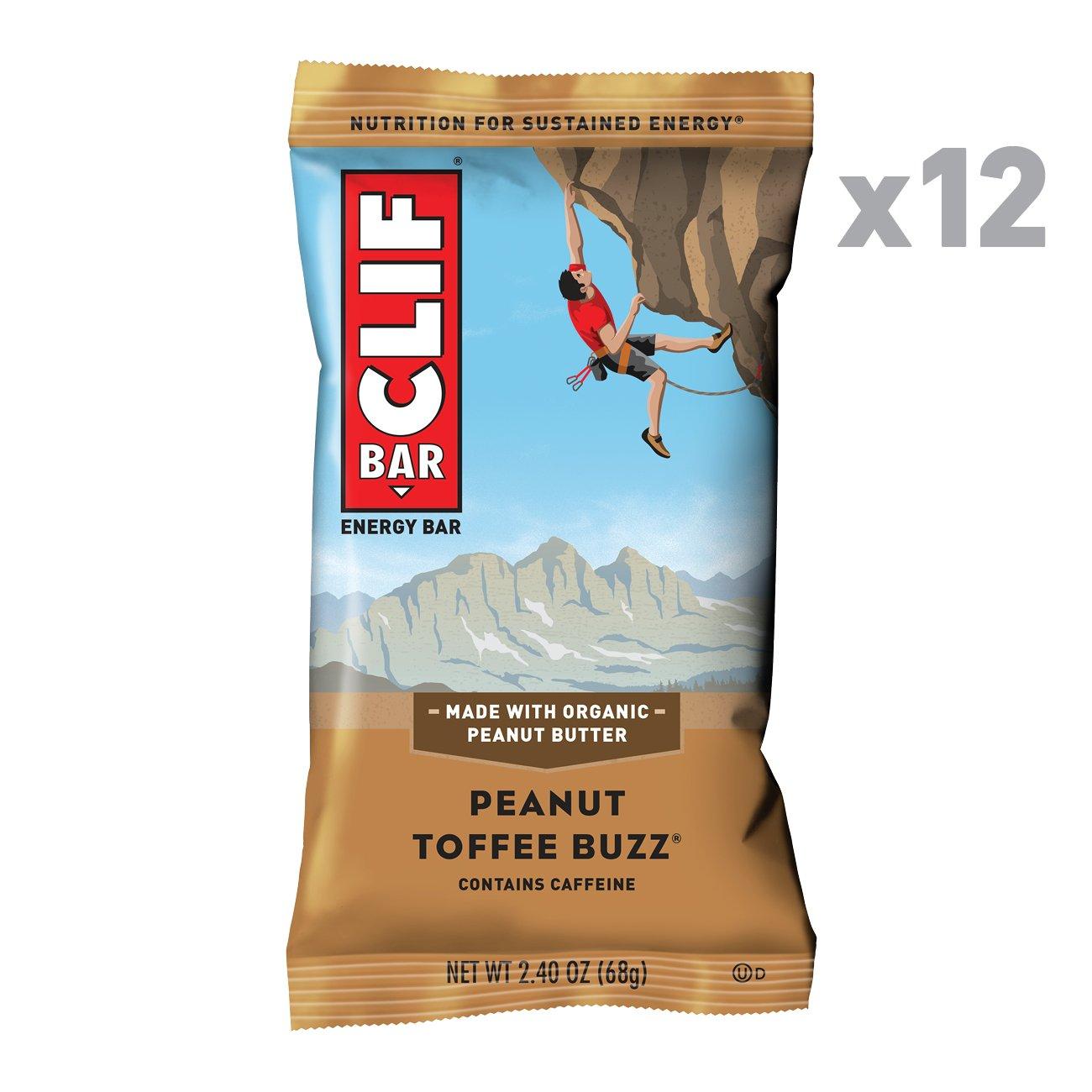 CLIF BAR - Energy Bar - Peanut Toffee Buzz - With Caffeine 2.4 Ounce Protein Bar, 12 Count