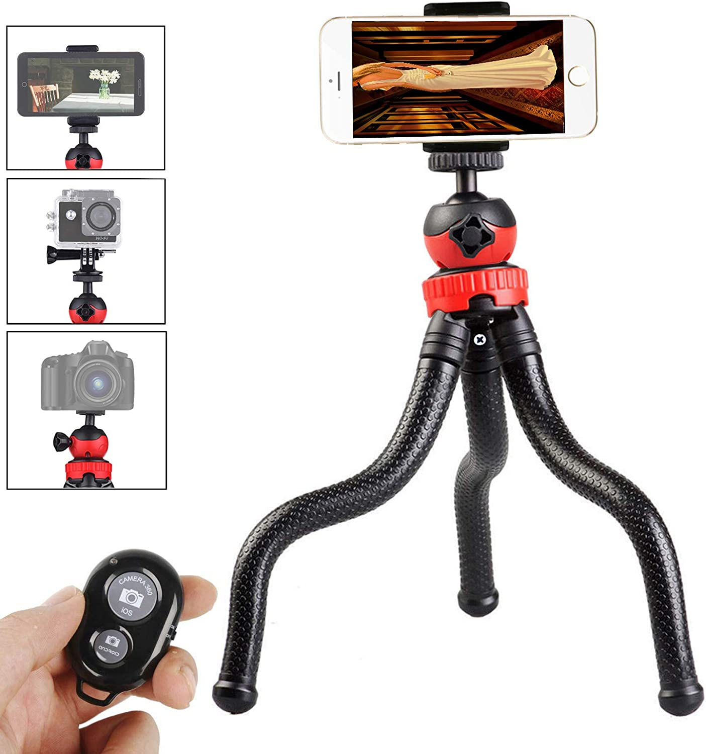 "Gurmoir 12"" Flexible Tripod for Mobile Phone iPhone 7 Gopro 7 6 5, 3in1 Tripod Stand with Wireless Remote with Cell Phone Holder for iPhone 8 7 6 6s and Android Phone and Gopro DLSR Cameras"