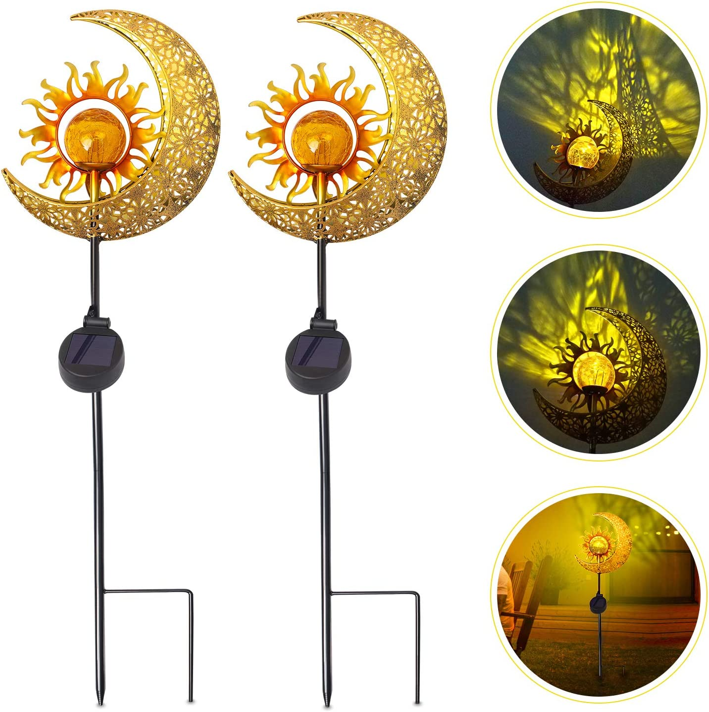 Kyson Sun Moon Solar Lights Garden Outdoor Waterproof Metal Decorative Stakes Crackle Glass Globe Warm White LED for Walkway,Yard,Lawn,Patio (2 Pack)
