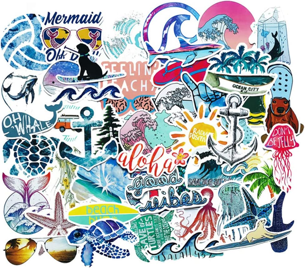 Beach Stickers 50pcs Blue Surfing Waves Fresh Lively Turtle Laptop Water Bottle Decals Cartoon Vitality Aesthetic Sticker Pack for Teen Girl (Beach Surfing)