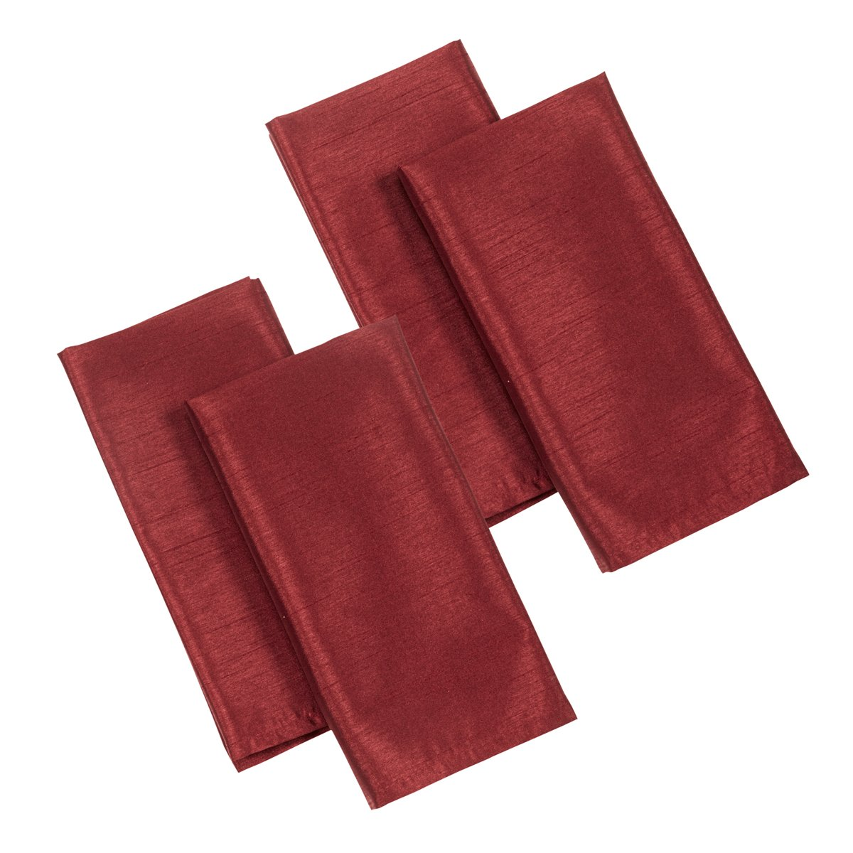 Casual Dining 17 x 17-inch Faux Silk Napkins, Pack of 4, Burgundy Home Creations 87606