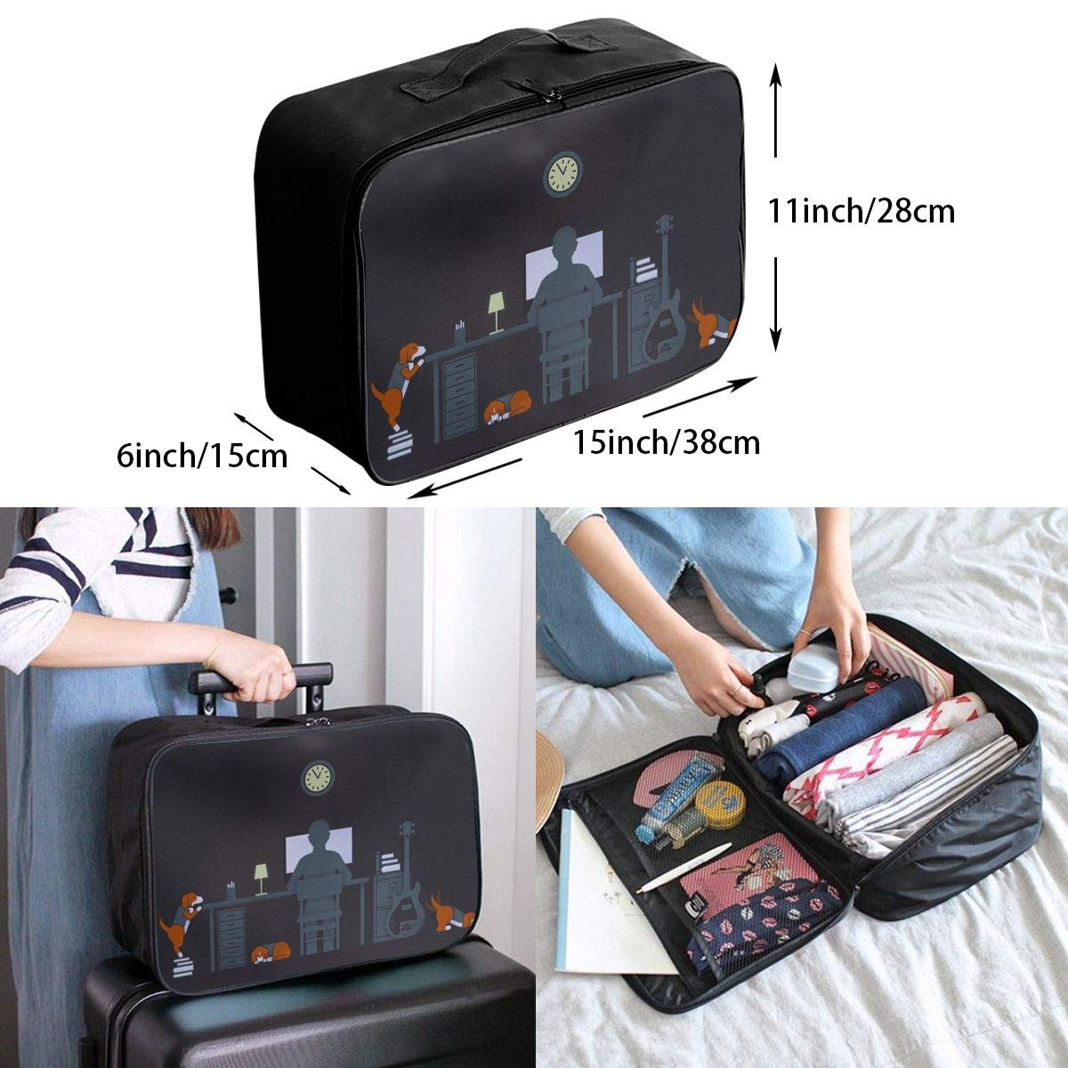 Travel Luggage Duffle Bag Lightweight Portable Handbag Student Life Dog Large Capacity Waterproof Foldable Storage Tote