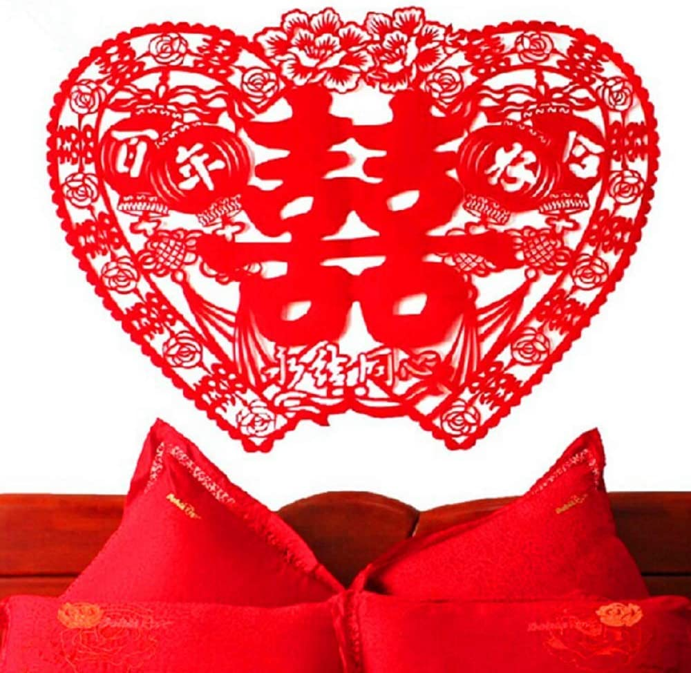 Wenbin 2 pcs Chinese Traditional Wedding red Non-Woven Double Happiness Paper-Cut, Flannel Paper-Cut, Door Stickers, Windows, Chinese Handmade Paper-Cut New House Layout Wedding Decoration