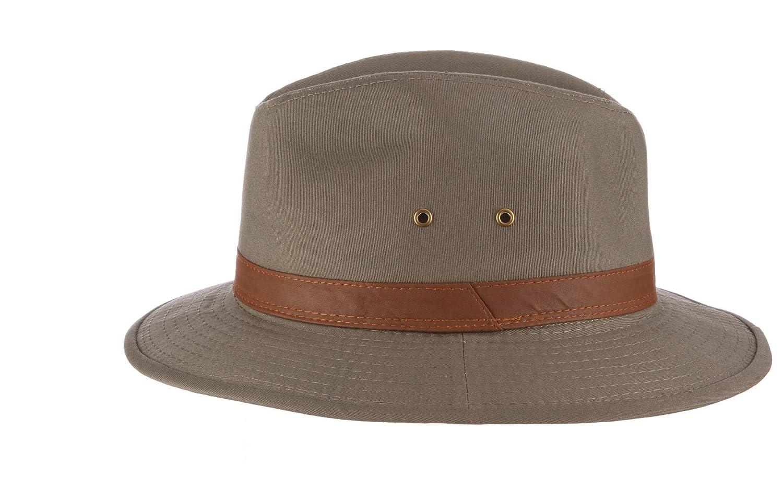 Dorfman Pacific Mens One-Piece Canvas Faux Leather-Trim Safari Hat