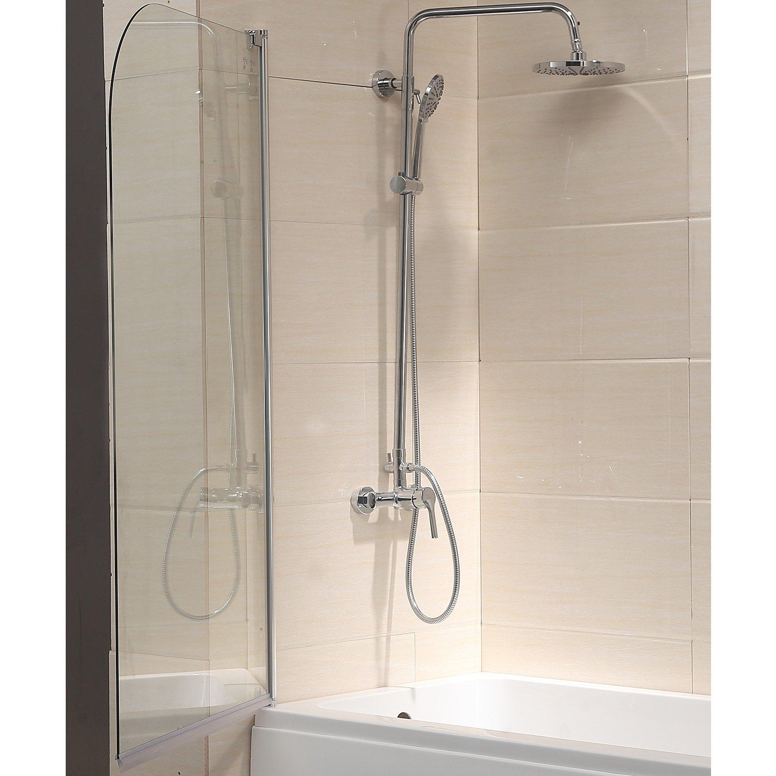 Mecor 55''X31'' Bathtub Shower Door 1/4'' Clear Glass Hinged Pivot Radius Frameless Chrome Finish by mecor (Image #2)