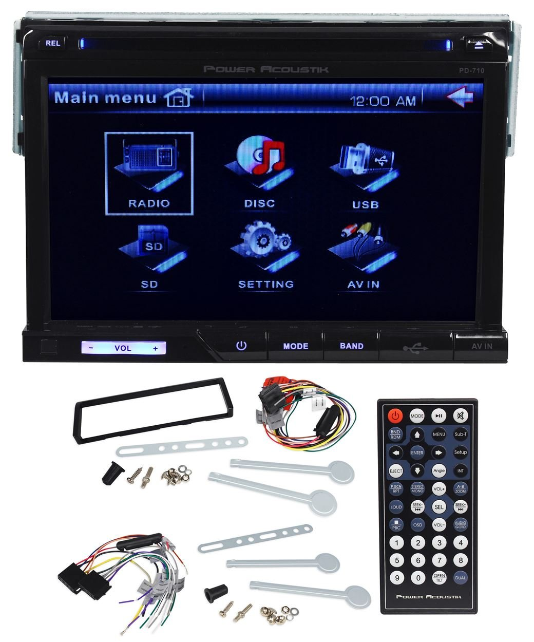 """Amazon.com: Power Acoustik PD-710 7"""" Single Din In-Dash Car DVD/CD/MP3  Player Receiver With USB/SD/AV-Aux Inputs and a Wireless Remote: Cell  Phones & ..."""