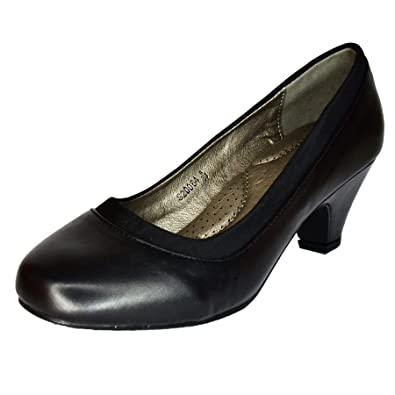 Ladies Plain Low Heel Court Shoes PADDED INSOLES Casual Comfy Work Pumps size
