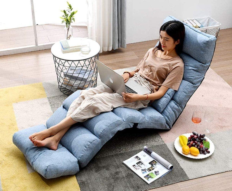ZWFPJQD Silla de Piso Plegable Tatami Acolchado Perezoso Acolchado Lavable removible con Respaldo Ajustable TV Mirar o Jugar Gris