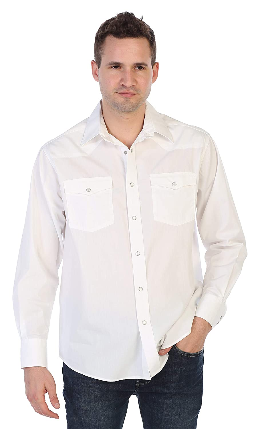 Gioberti Mens Solid Long Sleeve Western Shirt With Pearl Snap