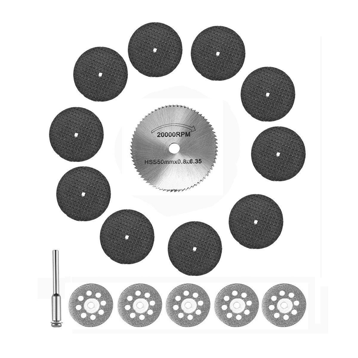 Cutting Tools/Power Rotary Tool Cutting Wheels 50mm HSS Cutting Discs Wheel 32mm Fiberglass Reinforced Abrasive Cutting Disc Cut 22mm Diamond Cutting Disc For Dremel,Proxxon Rotary Tools