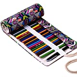 Hrph New 36/48/72 Holes Canvas Wrap Roll Up Pencil Bag Pen Case Holder Storage Pouch