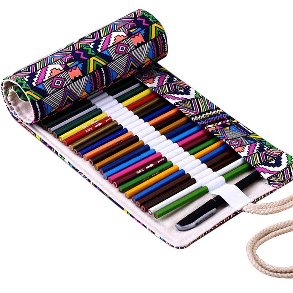 Hrph 36/48/72 Holes Canvas Wrap Roll Up Pencil Bag Pen Case Holder Storage Pouch