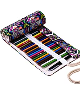 Hrph New 36/48/72 Holes Canvas Wrap Roll Up Pencil Bag Pen Case Holder Storage Pouch