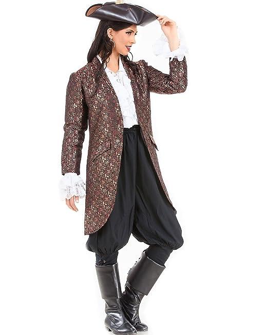 Women's Angelica Brocade Authentic Period Pirate Coat Costume - DeluxeAdultCostumes.com