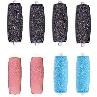 8-pack extra grove vervangende rollers - natte en droge navullingen voor Scholl Velvet Smooth, zwart roze en blauw