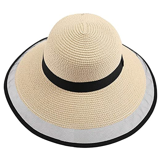 08118683b6b14 Women Wide Brim Sun Hat Panama Style Summer Breathable Mesh Brim Beach Cap  UPF50 UV Packable Straw Hat for Travel Beige at Amazon Women s Clothing  store