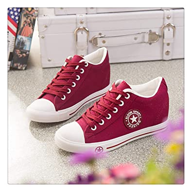 5de17d508 Amazon.com | Wedges Canvas Shoes Women Sneakers Summer Casual Shoes Female  Cute White Sneakers Stars Zapatos Mujer Trainers 5 cm Height Tenis Red 9 ...
