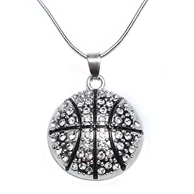 Amazon basketball pendant necklace for women girl jewelry basketball pendant necklace for women girl jewelry gift white crystal nba ball sport mozeypictures Images