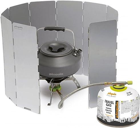 Pingüino cortavientos para hornillo de camping, hornillo de gas, hornillo de cocina, pantalla plegable