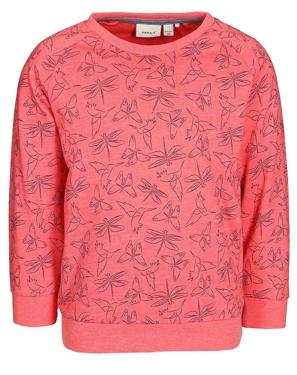 NAME IT Mini Mädchen Sweatshirt, Pullover Valba mit Schmetterlingen in Sunkist