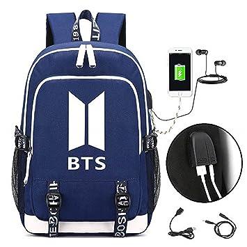Meridiaga - Mochila del grupo Bangtan Boys BTS de k-pop, mochila para portátil, para universidad o colegio, con puerto de carga USB: Amazon.es: Deportes y ...