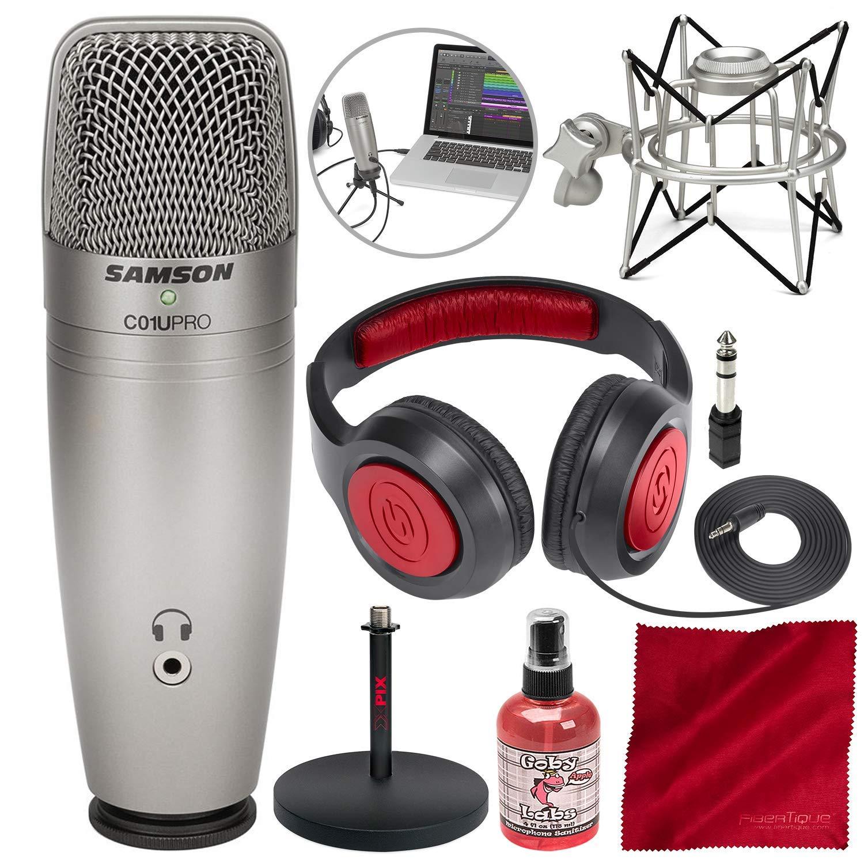 Samson C01U Pro USB Micrófono de condensador de estudio con soporte de choque Spider, soporte de escritorio, desinfectan
