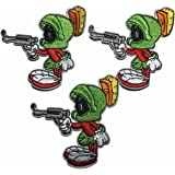 Looney Tunes Marvin Martian With Gun Cartoon Patch Set of 3 Patches