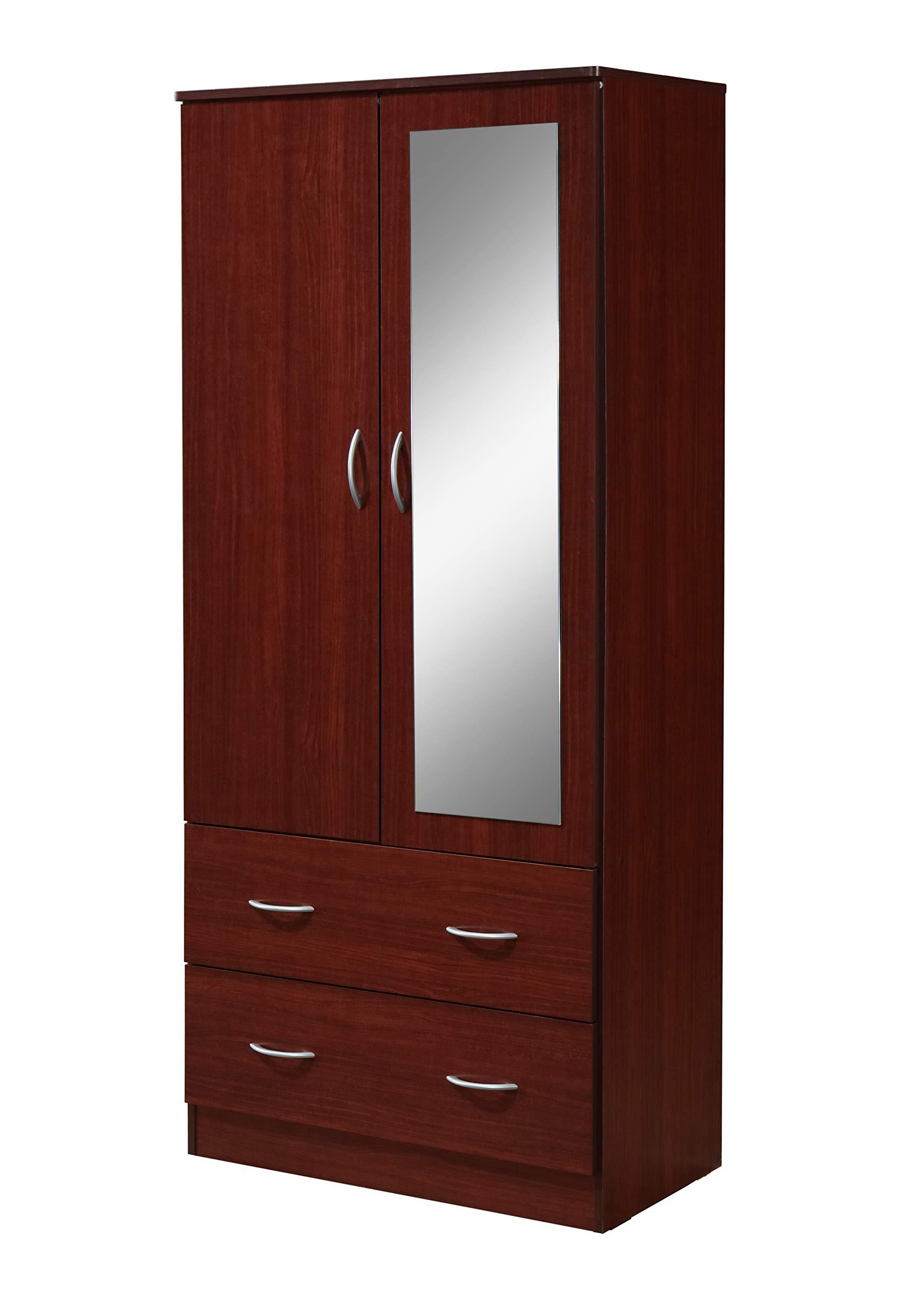 Hodedah HI882 Door 2-Drawers, Mirror and Clothing Rod in Mahogany Armoire,