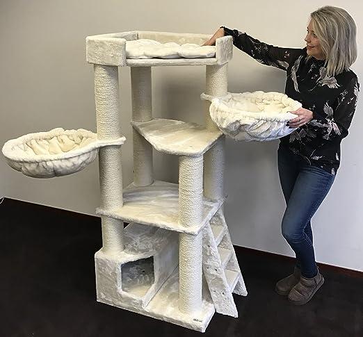 Rascador para gatos grandes Corner Crema arbol xxl maine coon gato gigante sisal muebles sofa casa escalador casita torre Árboles rascadores cama cueva repuesto medianos: Amazon.es: Productos para mascotas