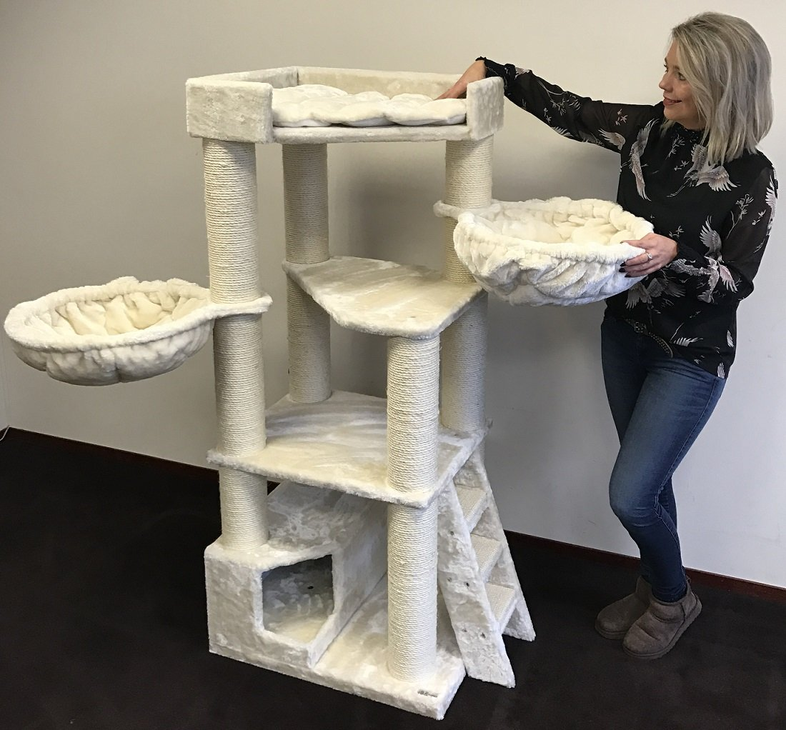 Cat Tree For Large Cats Corner Cat XXL Beige 59 inch high 88 pounds total weight Activity Tree With Scratching Posts Condo House Big Cats Hammock Large Bed Tower Furniture Sale