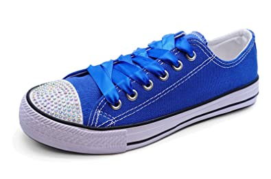 159f3f40bb6 Ladies Royal Blue Canva Diamante Lace-Up Plimsoll Pumps Trainers ...