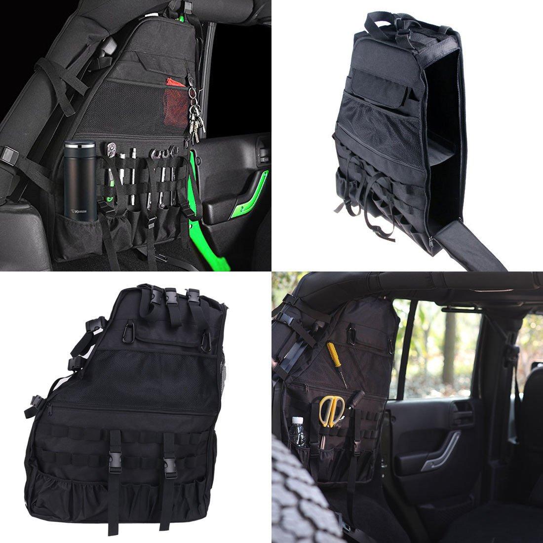 FidgetFidget Left Roll Bar Cargo Storage Bag Cage Tool Kit Saddlebag For Jeep Wrangler 4 Door