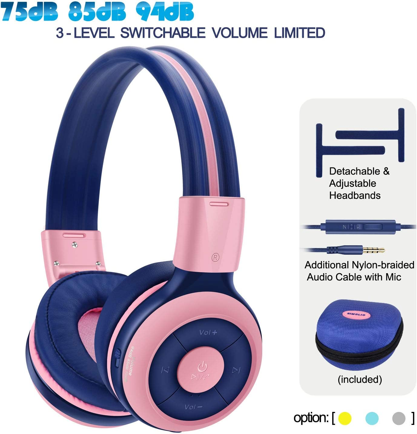 SIMOLIO Kids Headphones Bluetooth with 75dB,85dB,94dB Safe Volume for Hearing Protection, Wireless Headphone for Kids with Mic Share,Foldable Kids Headset with In-Line Audio Control for Girls Pink