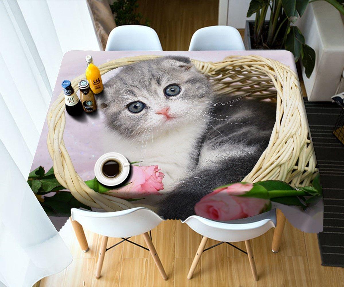 Rectangle - wide 178cmx long 274cm HUANZI Weiße rechteckige Tischdecken 3D Polyester Kätzchen Digitaldruck Party Polyester Tischdecke, Rectangle - Wide 178cmx Long 274cm